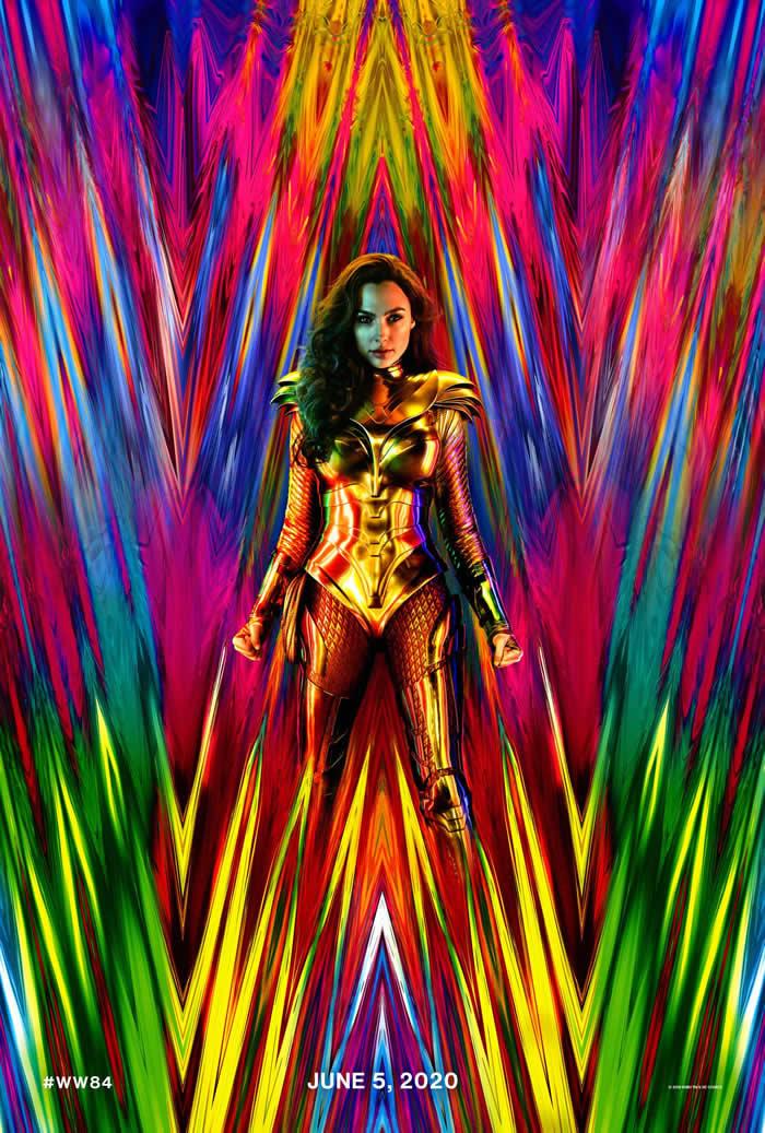 wonder woman 1984 poster con armatura d'oro